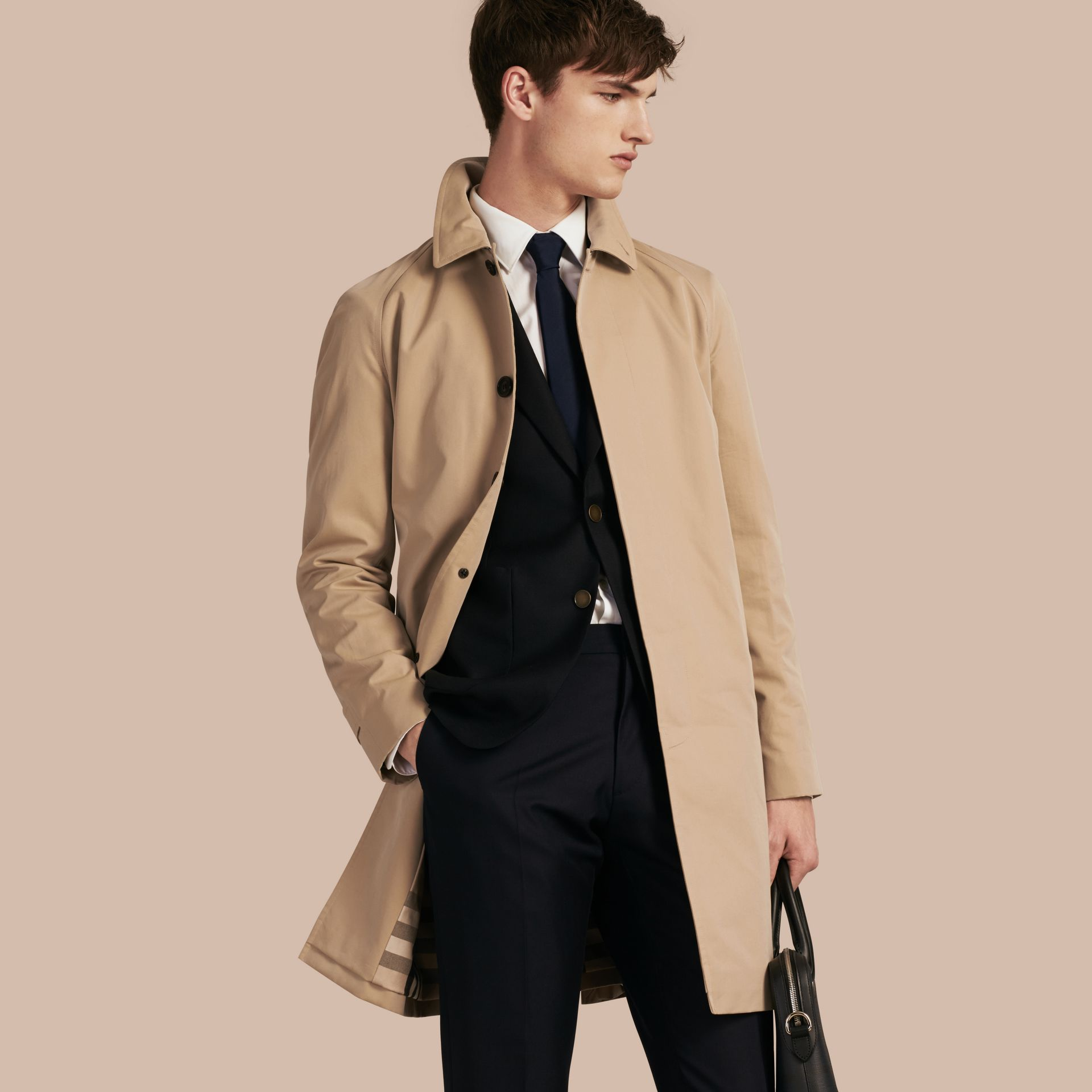 Long Cotton Gabardine Car Coat in Honey - Men | Burberry - gallery image 1