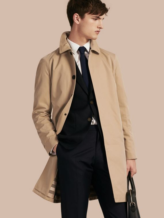 Long Cotton Gabardine Car Coat in Honey