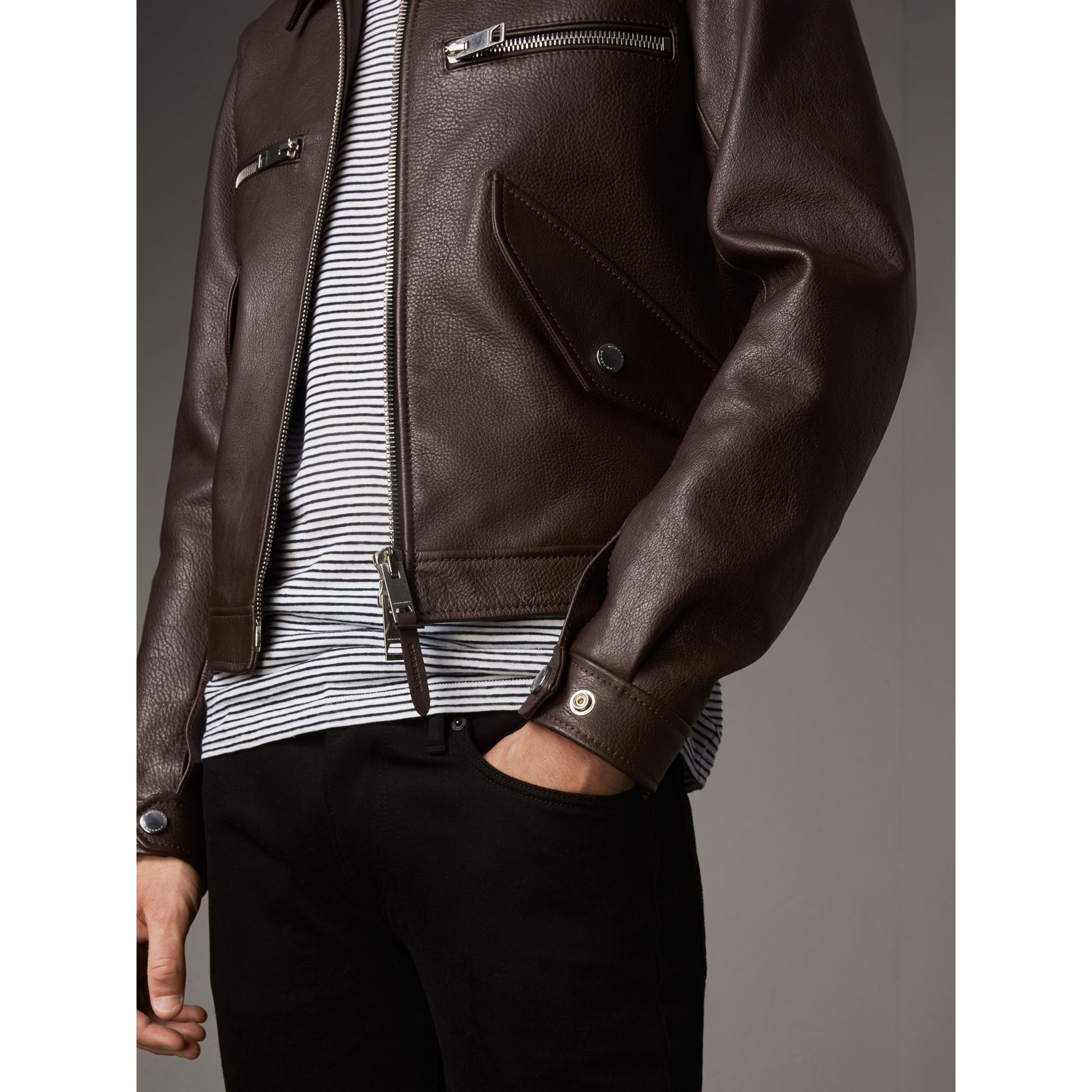 Tumbled Leather Jacket in Bitter Chocolate - Men | Burberry - gallery image 5