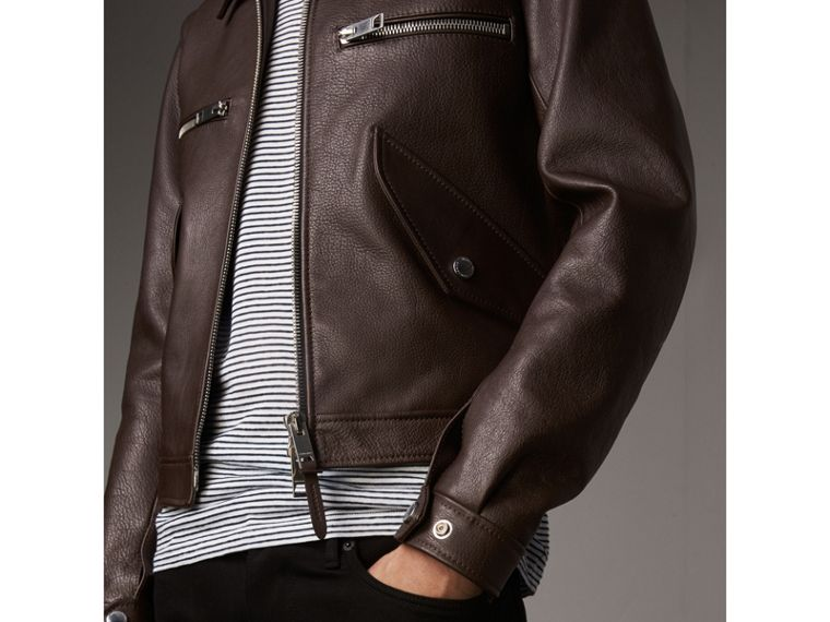 Tumbled Leather Jacket in Bitter Chocolate - Men | Burberry United Kingdom - cell image 4