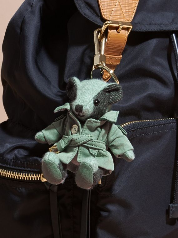 Thomas Bear Charm with Tropical Gabardine Trench Coat in Dusty Mint - Women | Burberry - cell image 2