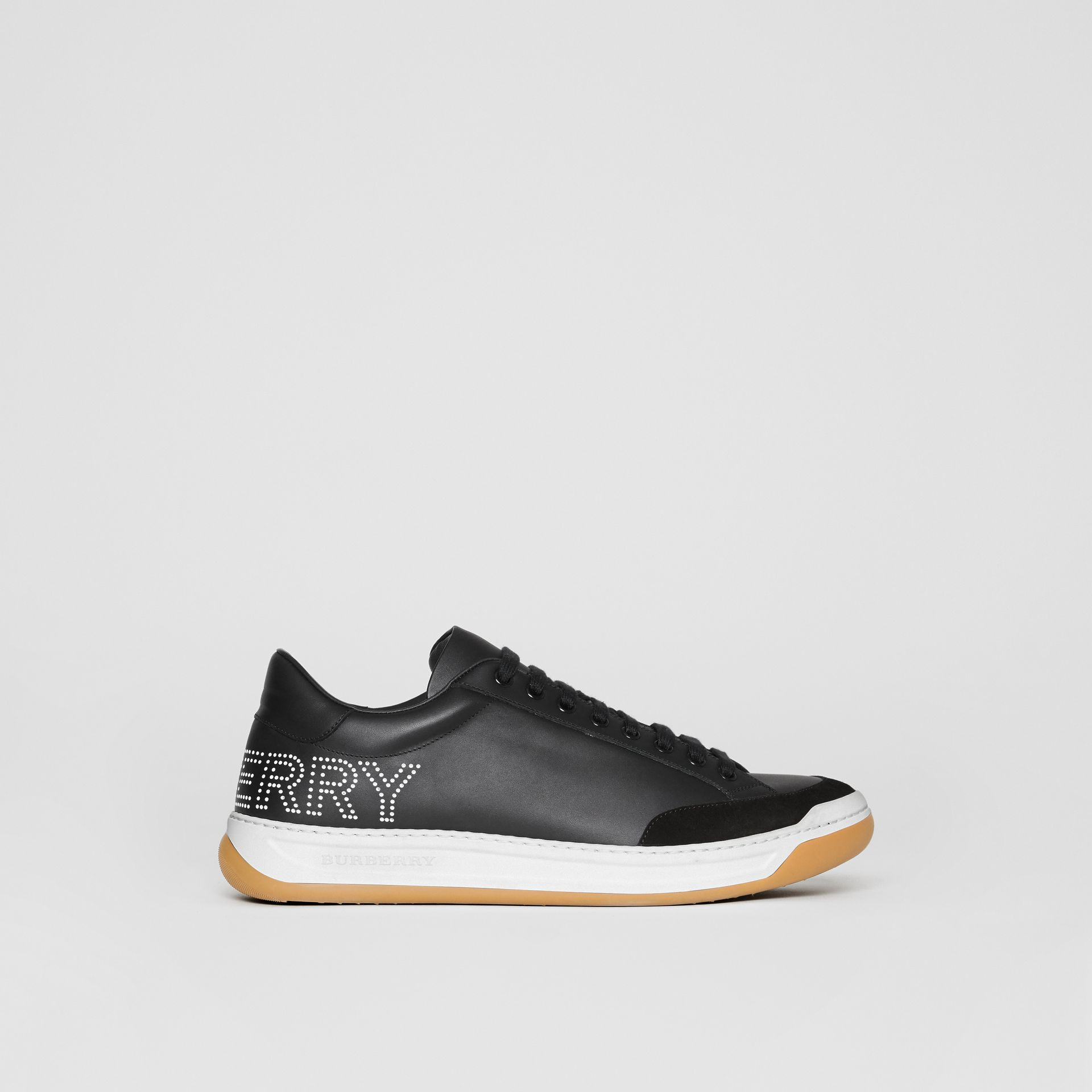 Perforated Logo Leather Tennis Sneakers in Black/optic White - Men | Burberry - gallery image 5