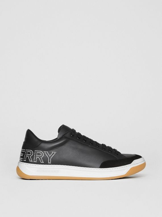 Perforated Logo Leather Tennis Sneakers in Black/optic White