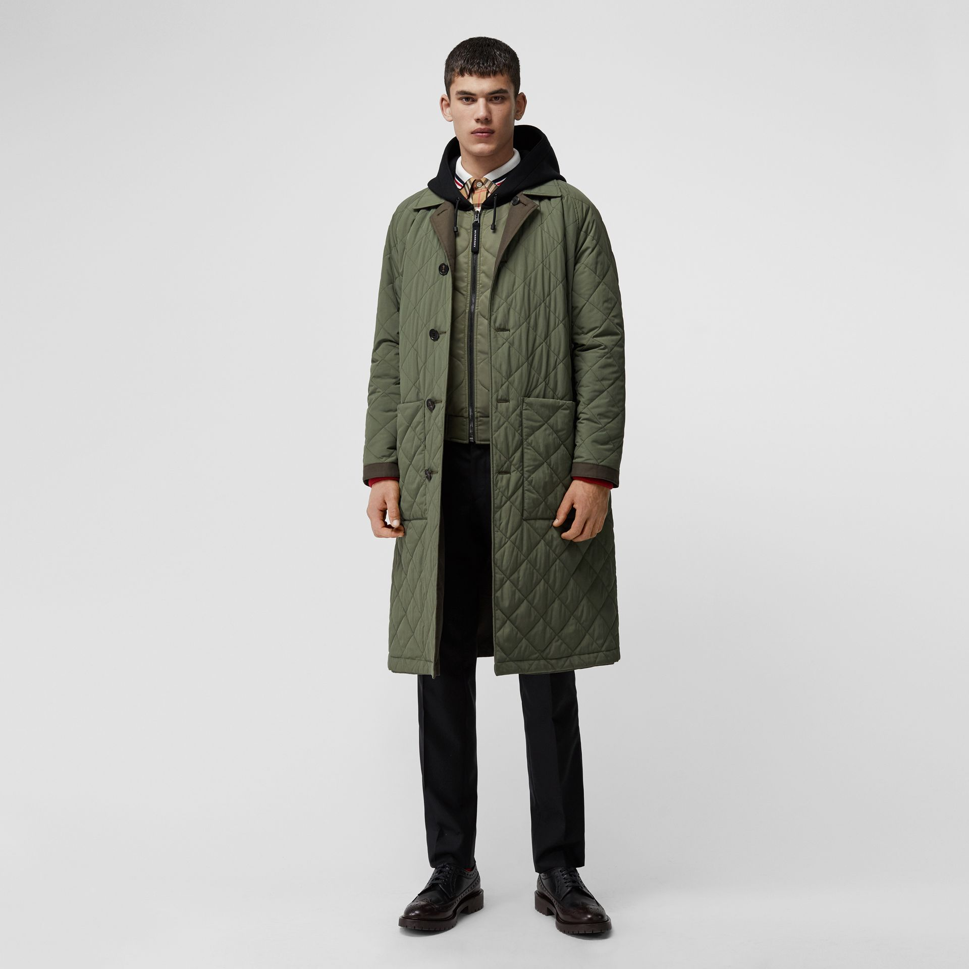 Reversible Diamond Quilted and Cotton Car Coat in Dark Olive - Men | Burberry Canada - gallery image 0
