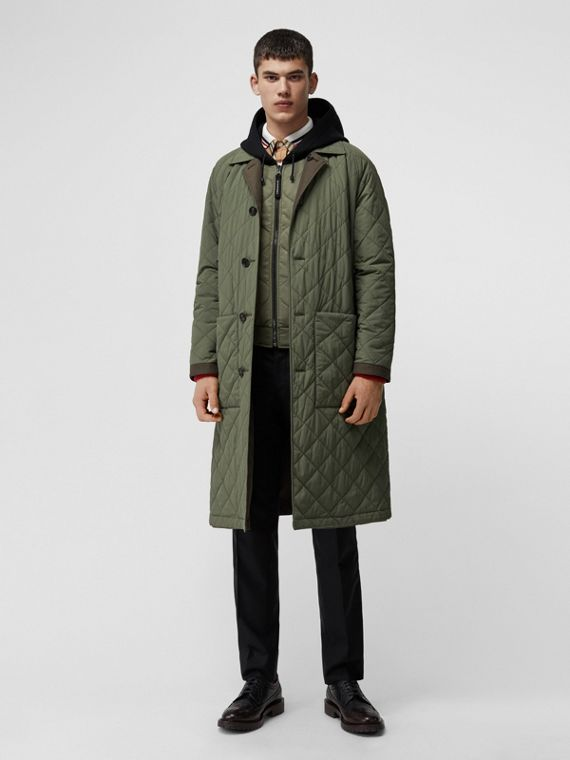 Reversible Diamond Quilted and Cotton Car Coat in Dark Olive