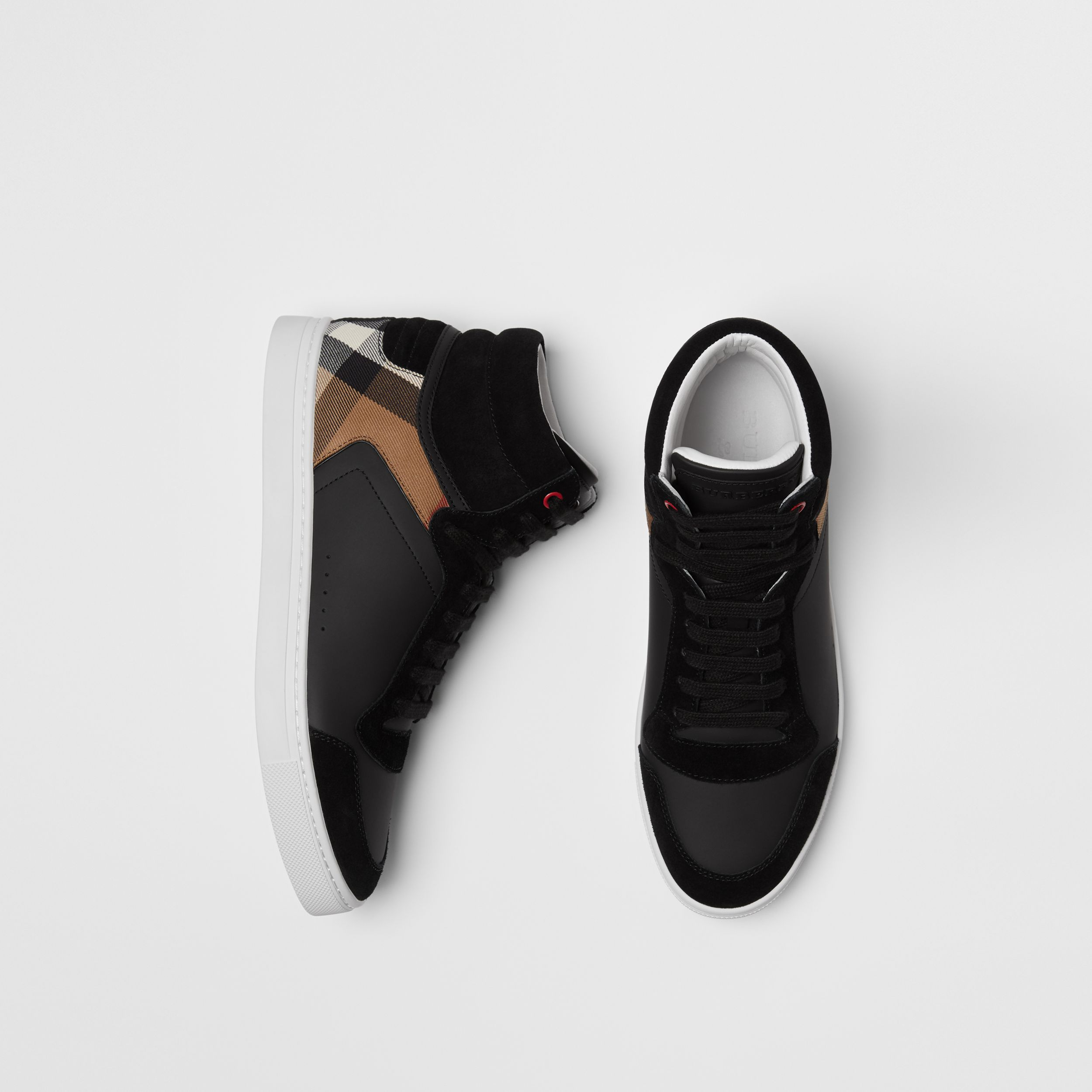 Leather and House Check High-top Sneakers in Black - Men | Burberry - 1