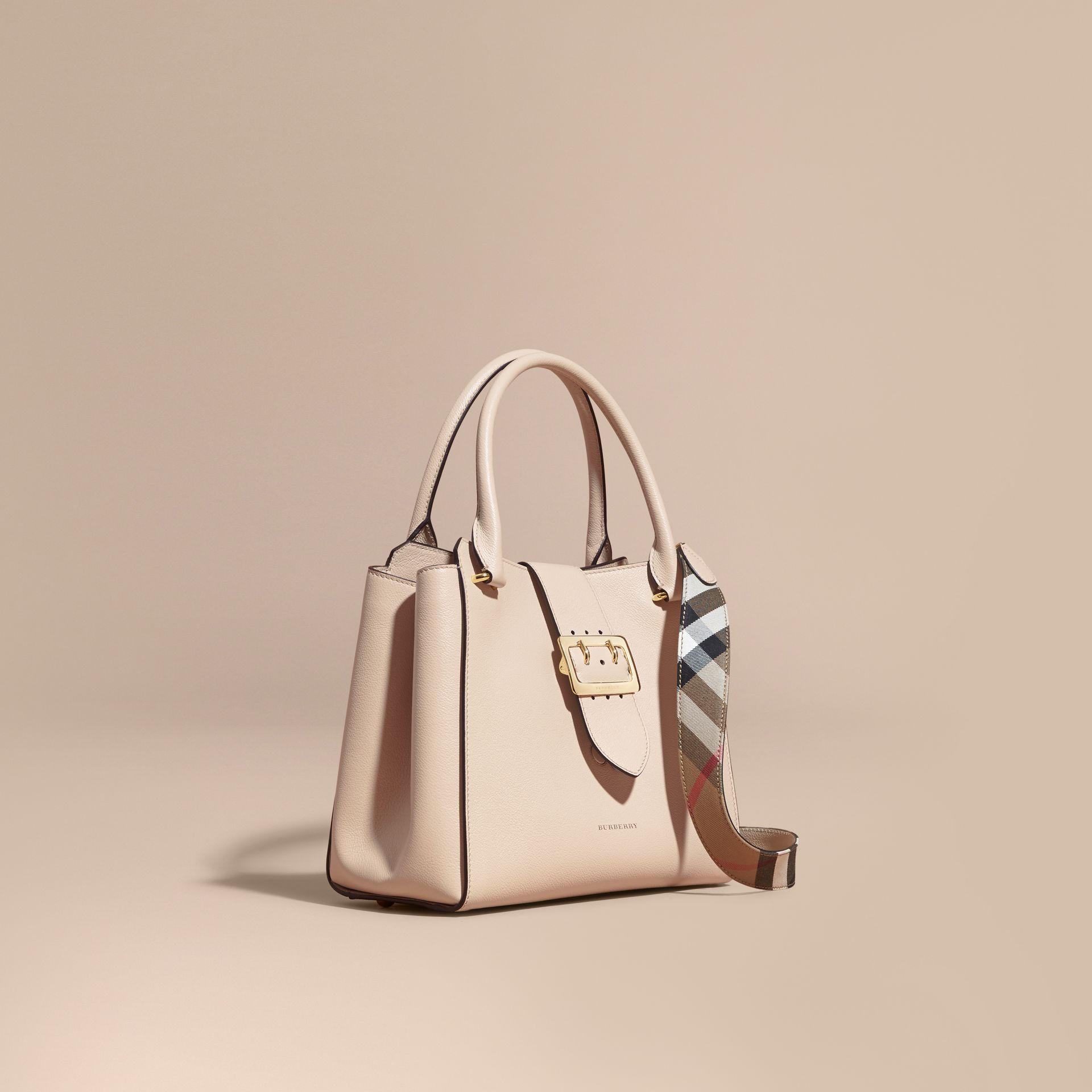 Limestone The Medium Buckle Tote in Grainy Leather Limestone - gallery image 1