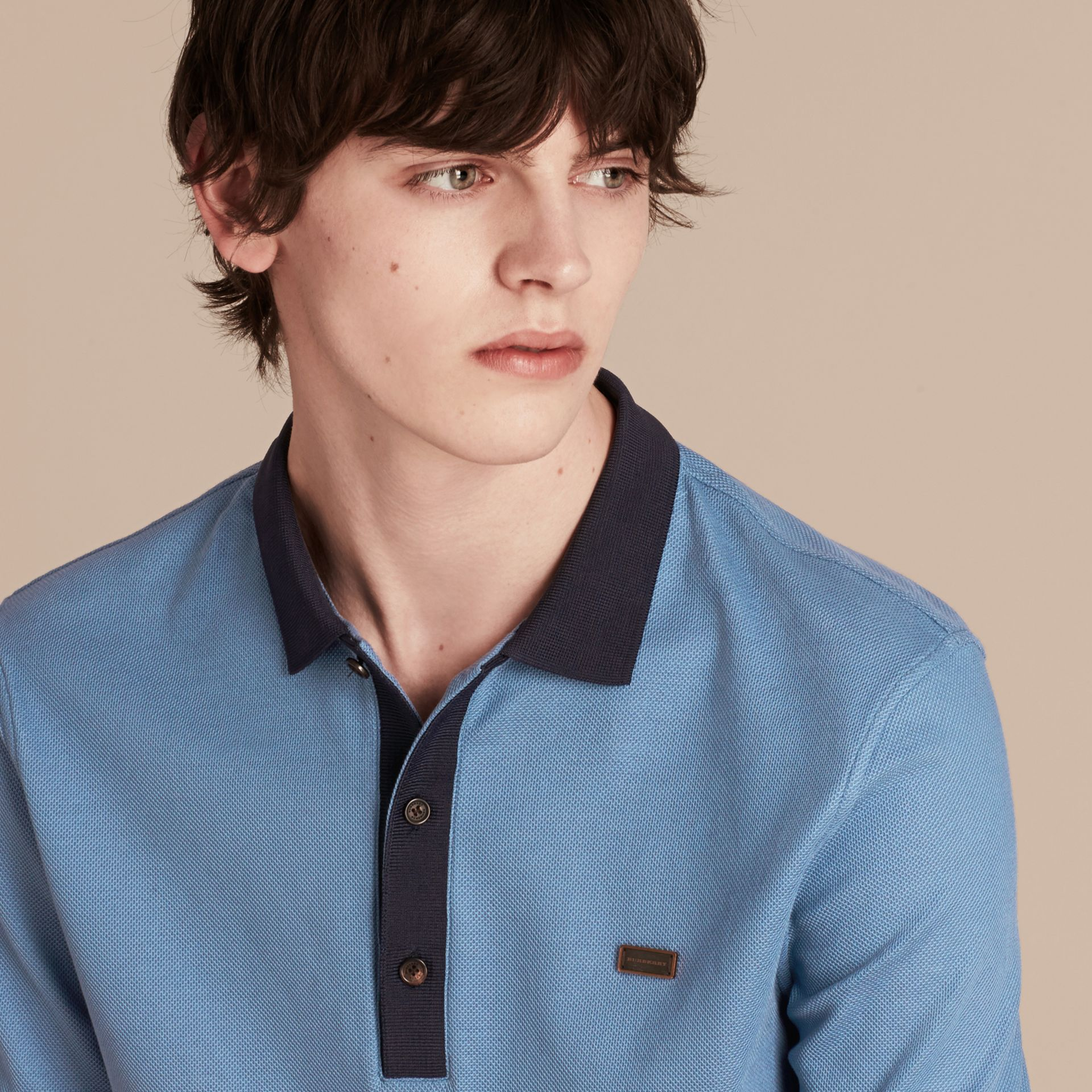 Pale cornflower blue/bright navy Mercerised Cotton Piqué Polo Shirt Pale Cornflower Blue/bright Navy - gallery image 3