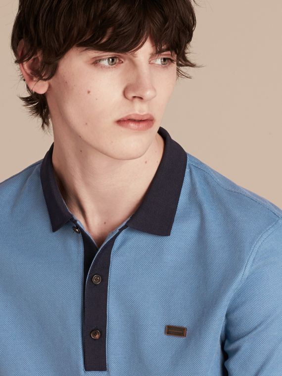 Pale cornflower blue/bright navy Mercerised Cotton Piqué Polo Shirt Pale Cornflower Blue/bright Navy - cell image 2