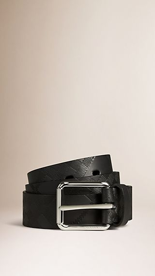 Check Embossed Leather Belt