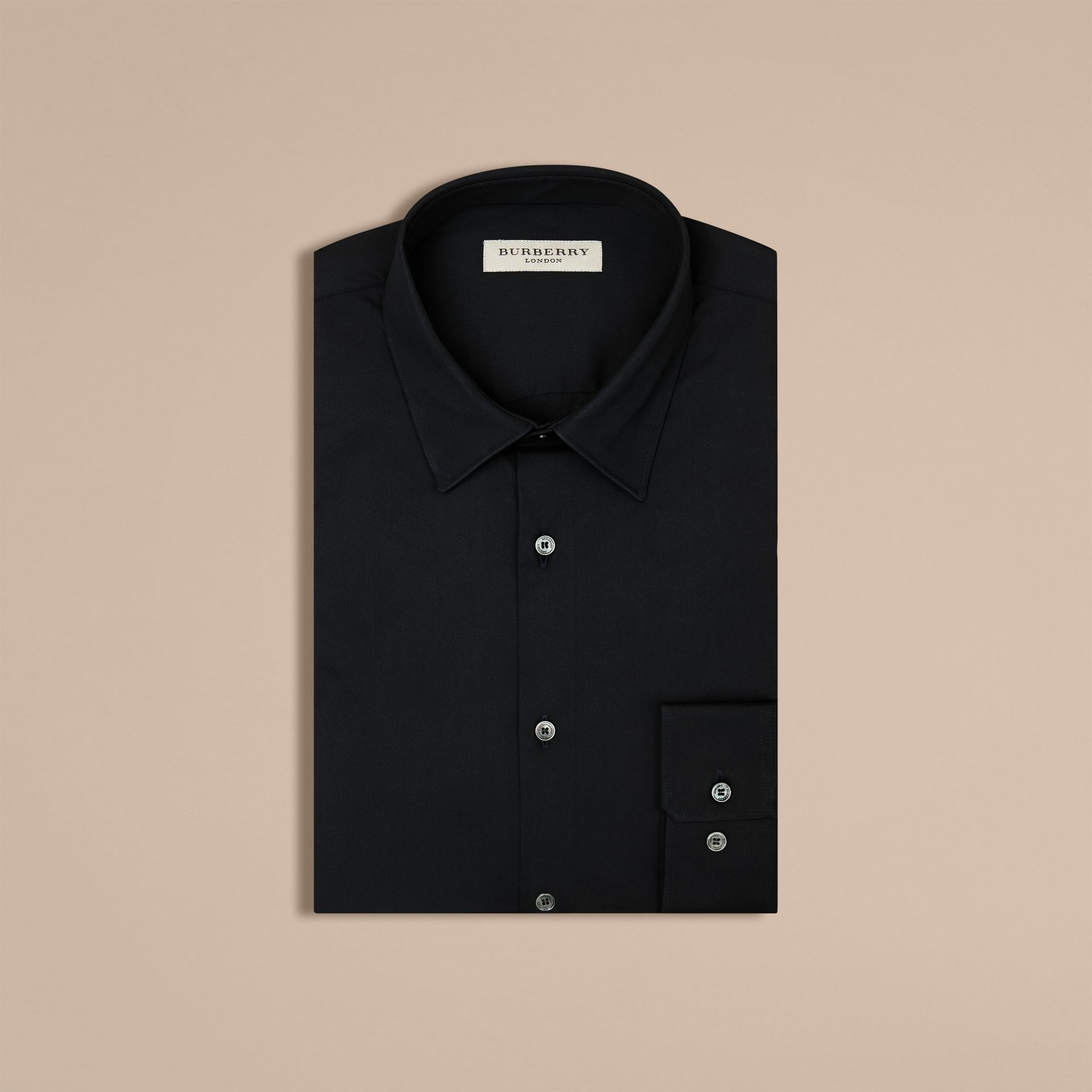 Slim Fit Stretch Cotton Shirt in Navy - gallery image 4