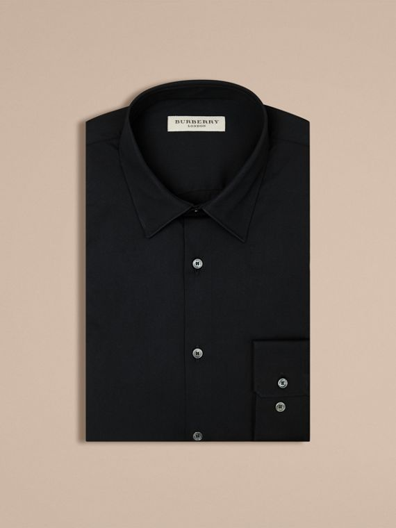 Slim Fit Stretch Cotton Shirt in Navy - Men | Burberry - cell image 3