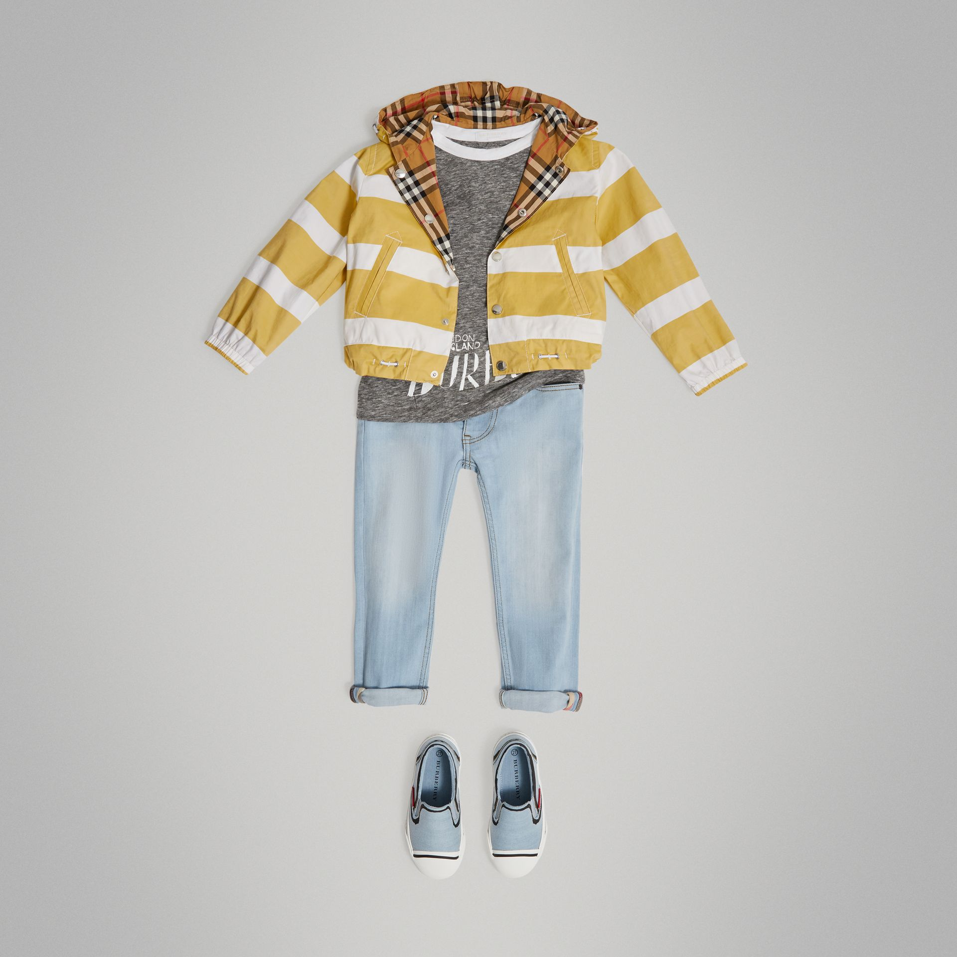 Reversible Stripe and Vintage Check Cotton Jacket in Larch Yellow/whte - Boy | Burberry Singapore - gallery image 0