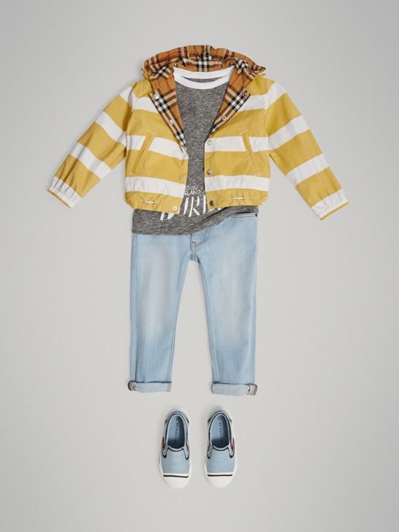 Reversible Stripe and Vintage Check Cotton Jacket in Larch Yellow/whte