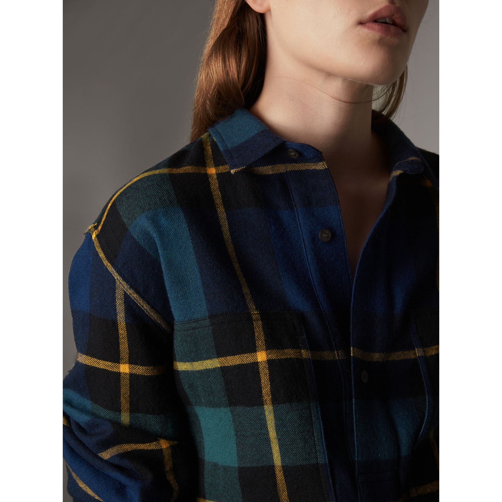 Tartan Wool Flannel Tunic Shirt in Ink Blue - Women | Burberry - gallery image 4