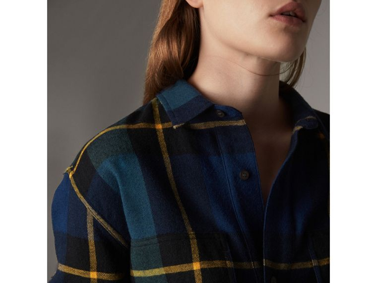 Tartan Wool Flannel Tunic Shirt in Ink Blue - Women | Burberry - cell image 4
