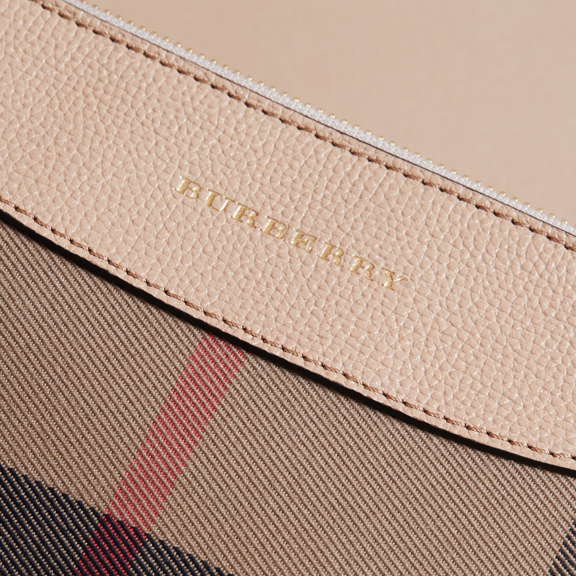 House Check and Leather Crossbody Bag in Chino - Girl | Burberry - gallery image 2