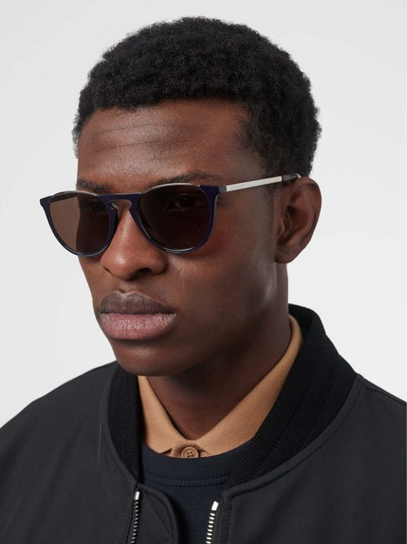 Keyhole Pilot Round Frame Sunglasses in Blue - Men | Burberry United States - cell image 1