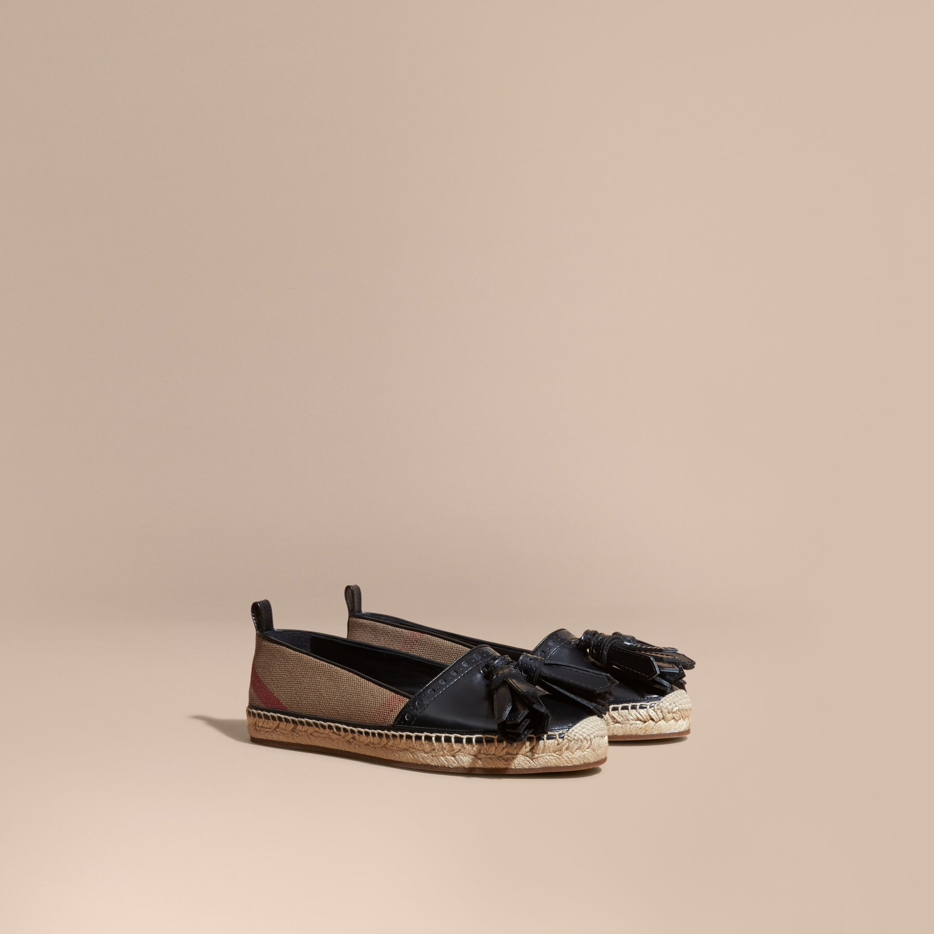 Black Tasselled Canvas Check and Leather Espadrilles - gallery image 1
