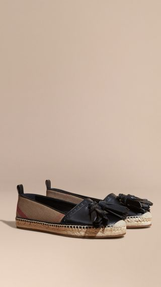Tasselled Canvas Check and Leather Espadrilles