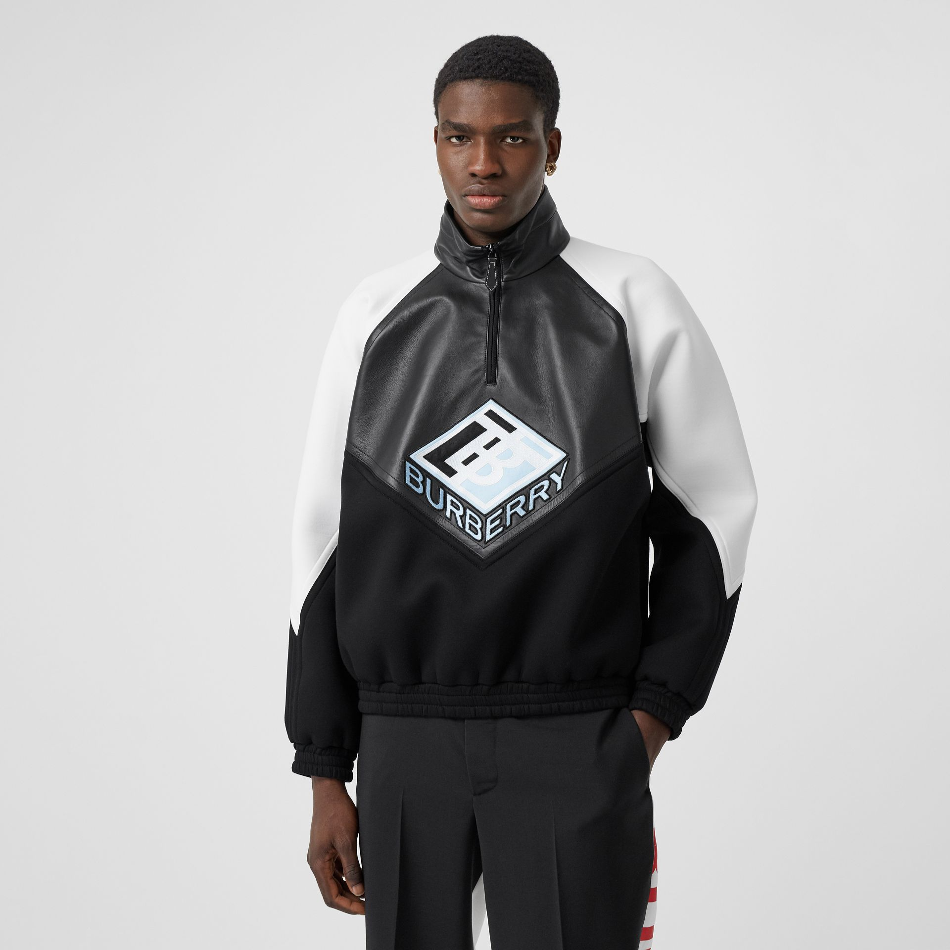 Logo Graphic Lambskin Funnel Neck Track Top in Black - Men | Burberry Hong Kong S.A.R - gallery image 4