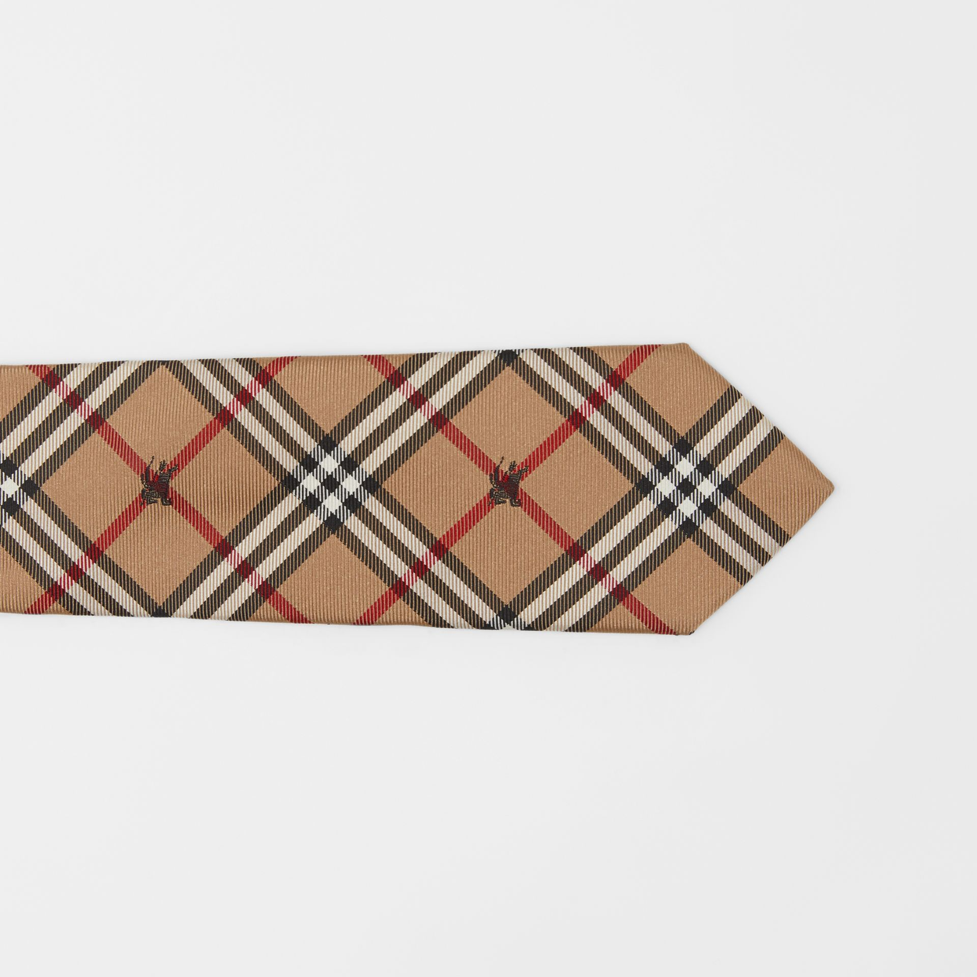 Slim Cut Equestrian Knight Check Silk Tie in Camel - Men | Burberry Australia - gallery image 1