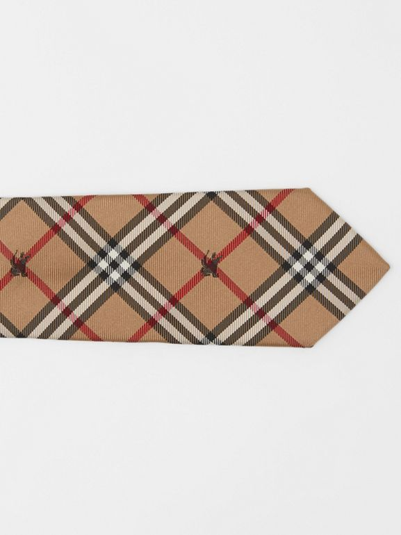 Slim Cut Equestrian Knight Check Silk Tie in Camel - Men | Burberry Australia - cell image 1