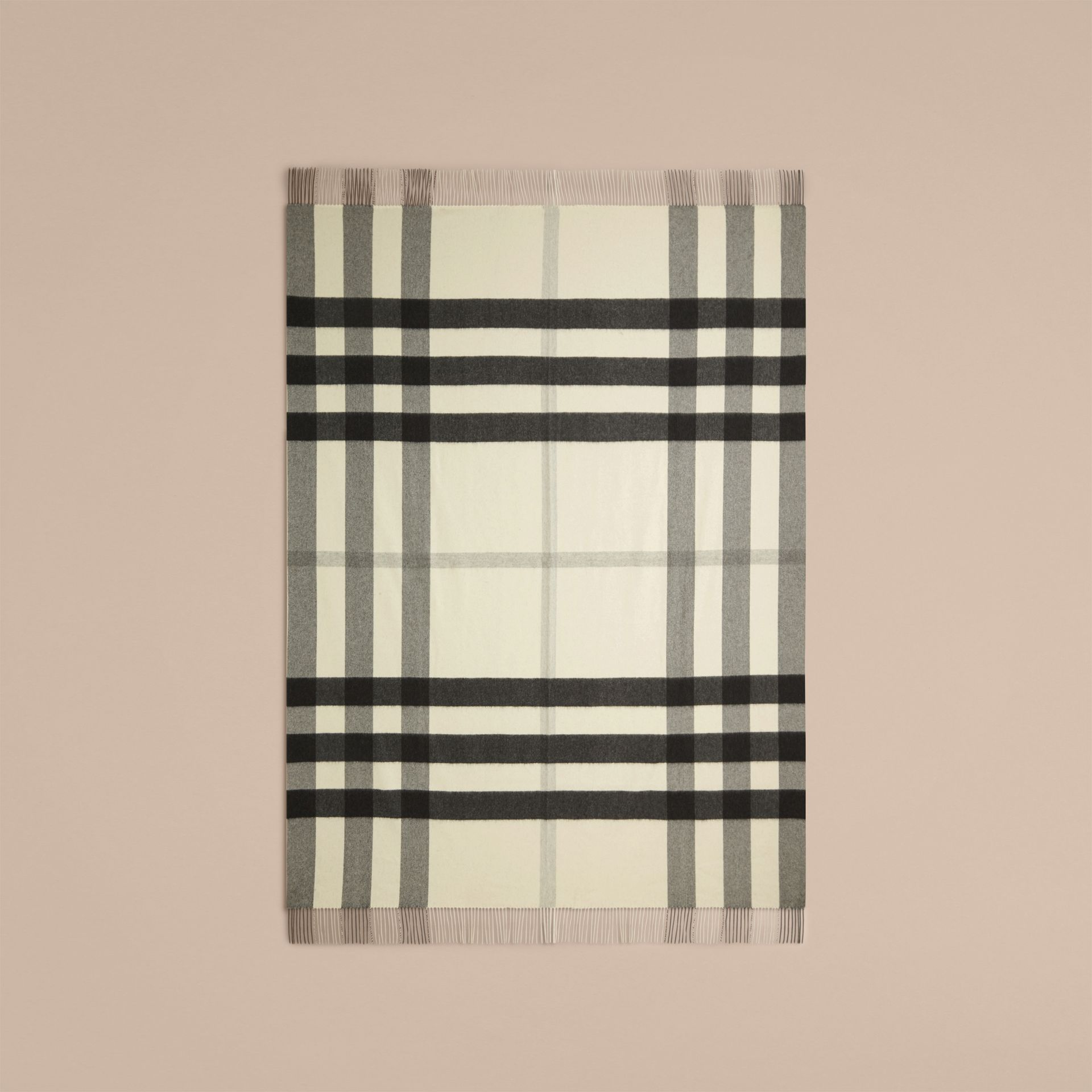 Couverture en cachemire à motif check (Blanc Naturel) | Burberry - photo de la galerie 3