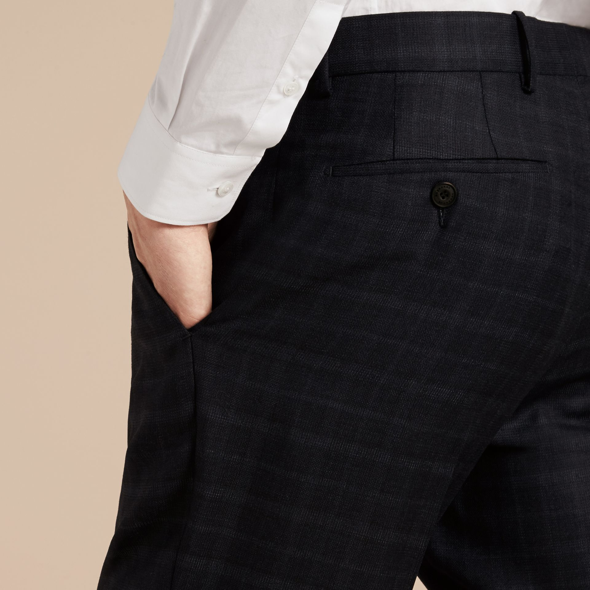 Ink Slim Fit Check Wool Tailored Trousers - gallery image 5