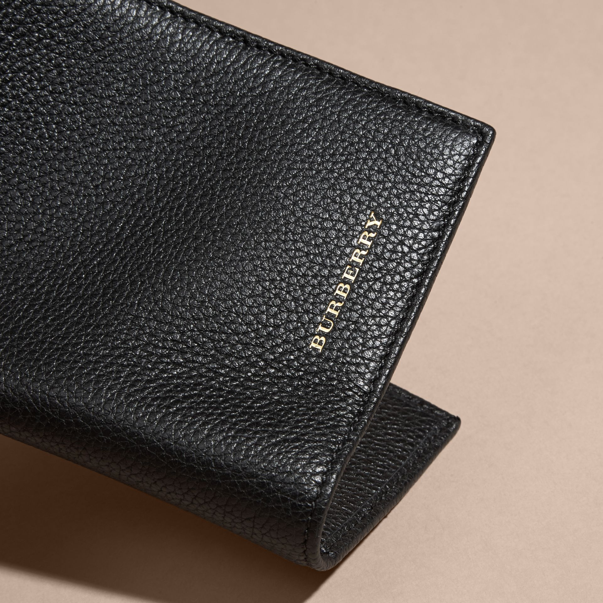 Black Grainy Leather Passport and Card Holder Black - gallery image 2