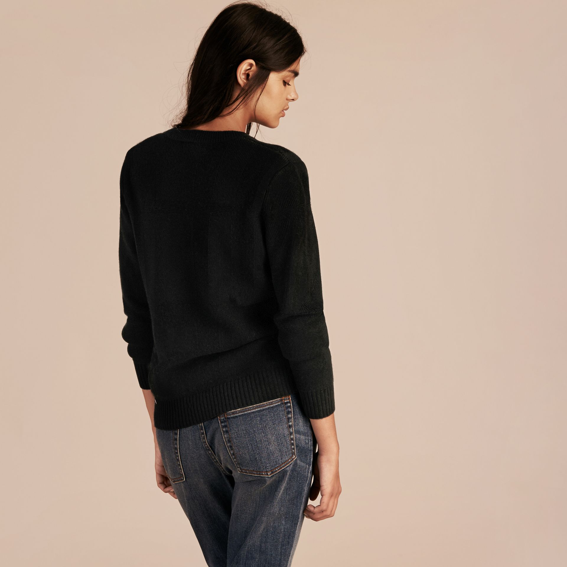 Check-knit Wool Cashmere Sweater Black - gallery image 3