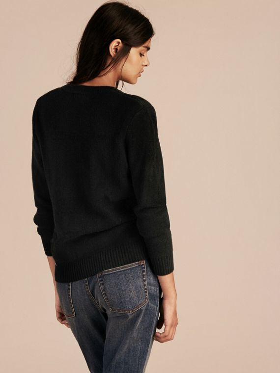Black Check-knit Wool Cashmere Sweater Black - cell image 2