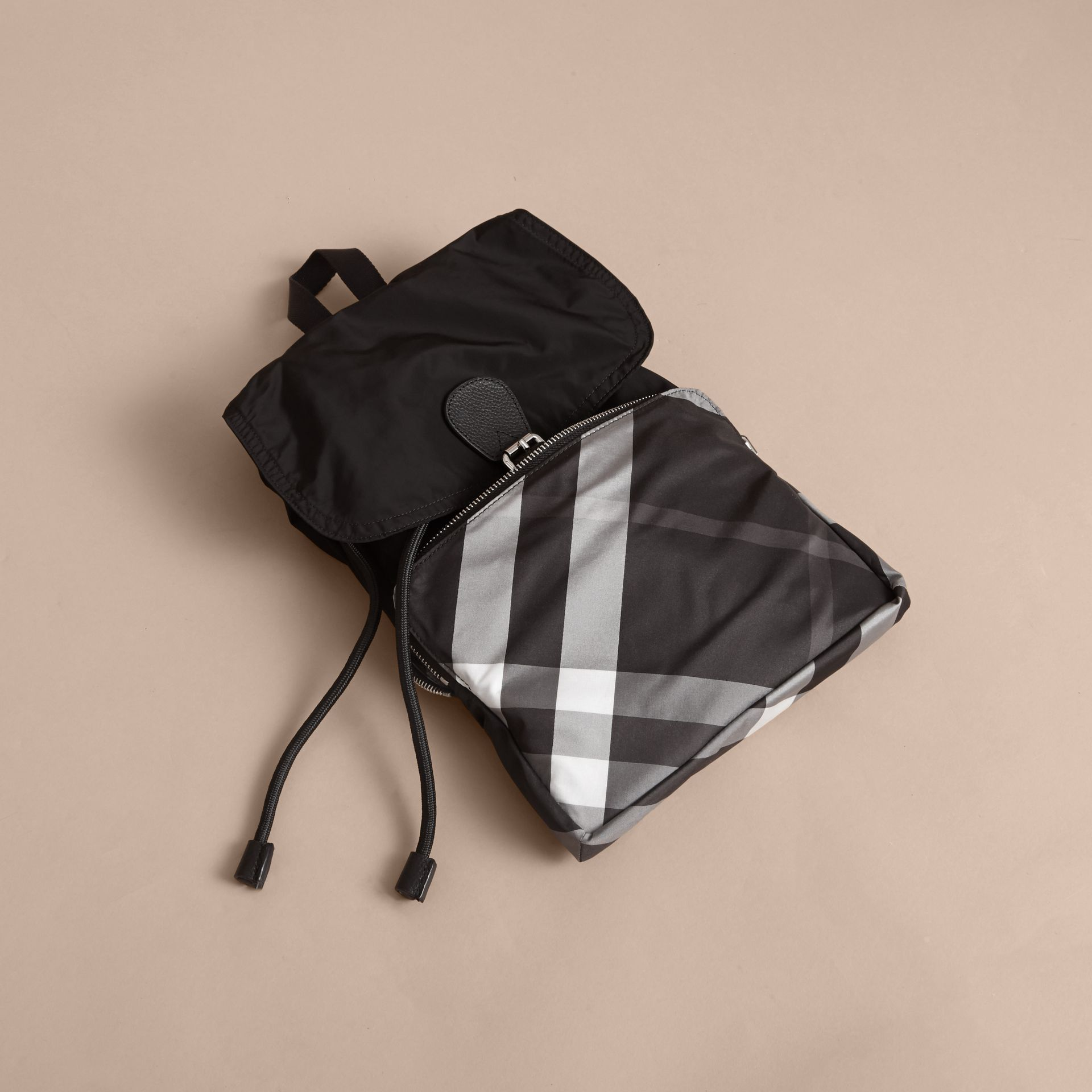 Check Detail Technical Packaway Rucksack Black - gallery image 6