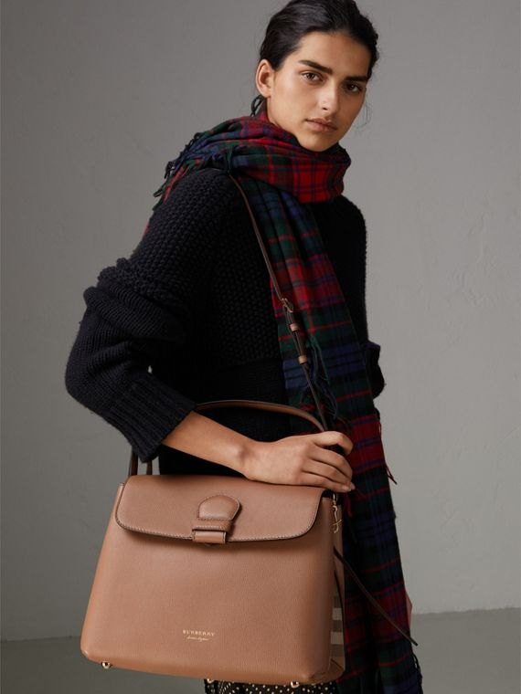Medium Grainy Leather and House Check Tote Bag in Dark Sand - Women | Burberry - cell image 3