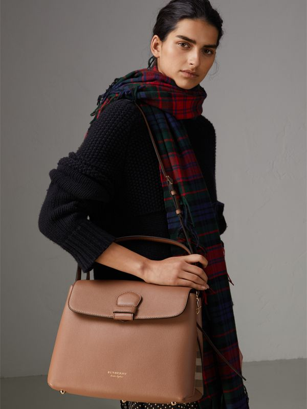 Medium Grainy Leather and House Check Tote Bag in Dark Sand - Women | Burberry Singapore - cell image 3