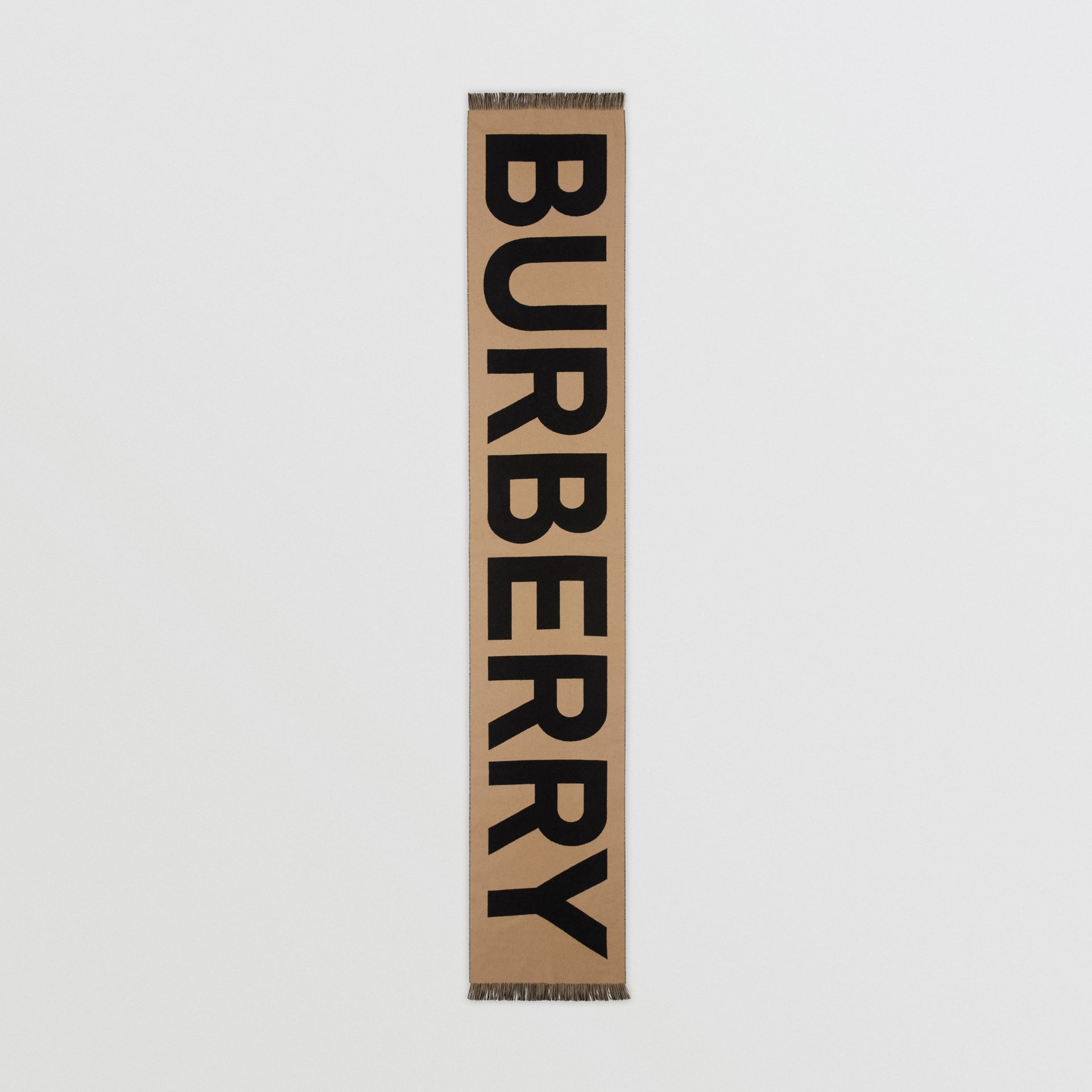 Logo Wool Jacquard Scarf in Archive Beige | Burberry - gallery image 4