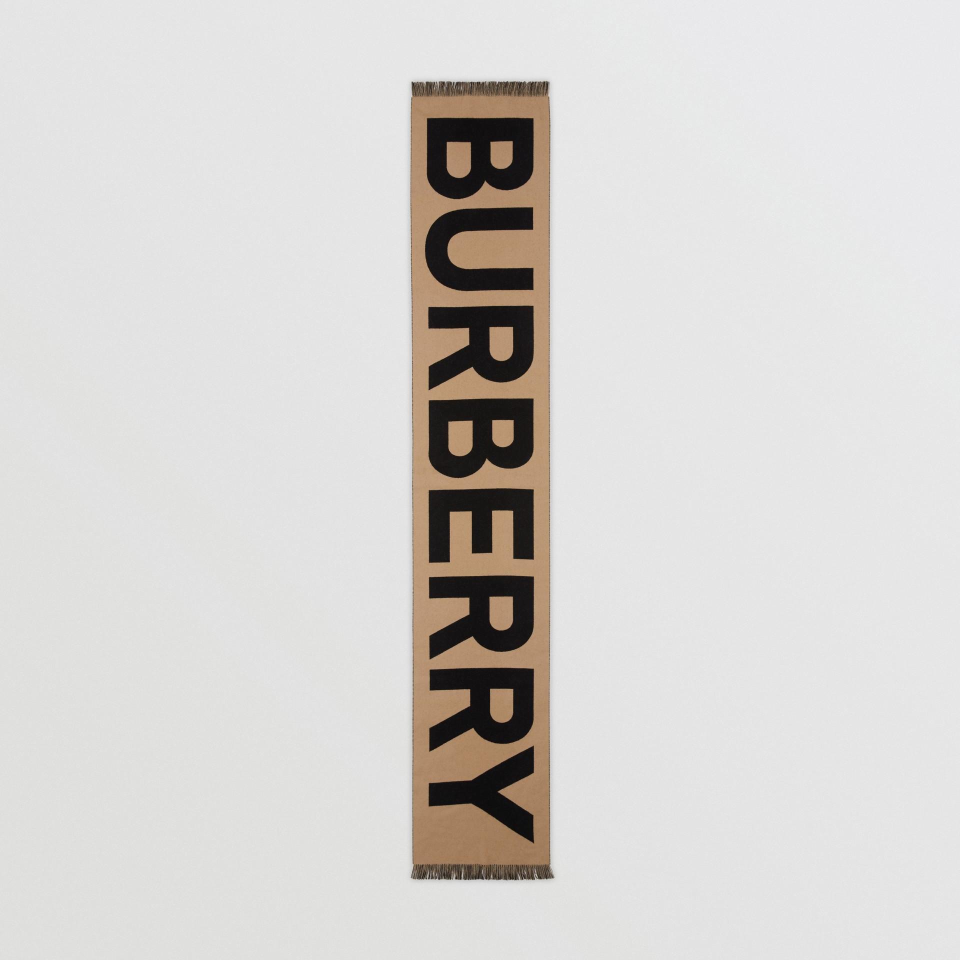 Bufanda en lana con logotipo en jacquard (Beige Vintage) | Burberry - imagen de la galería 4