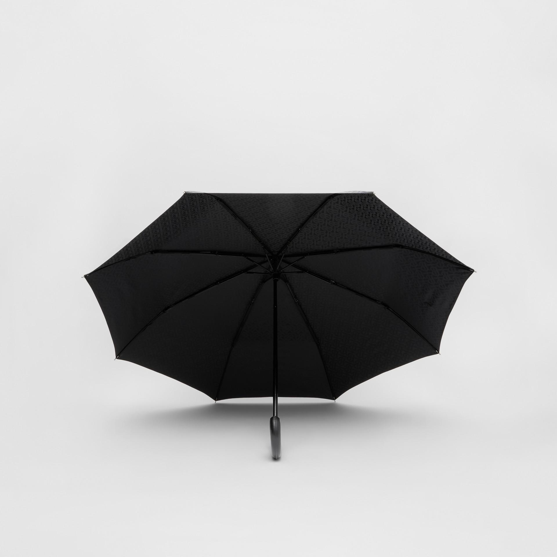 Monogram Print Folding Umbrella in Black | Burberry - gallery image 2