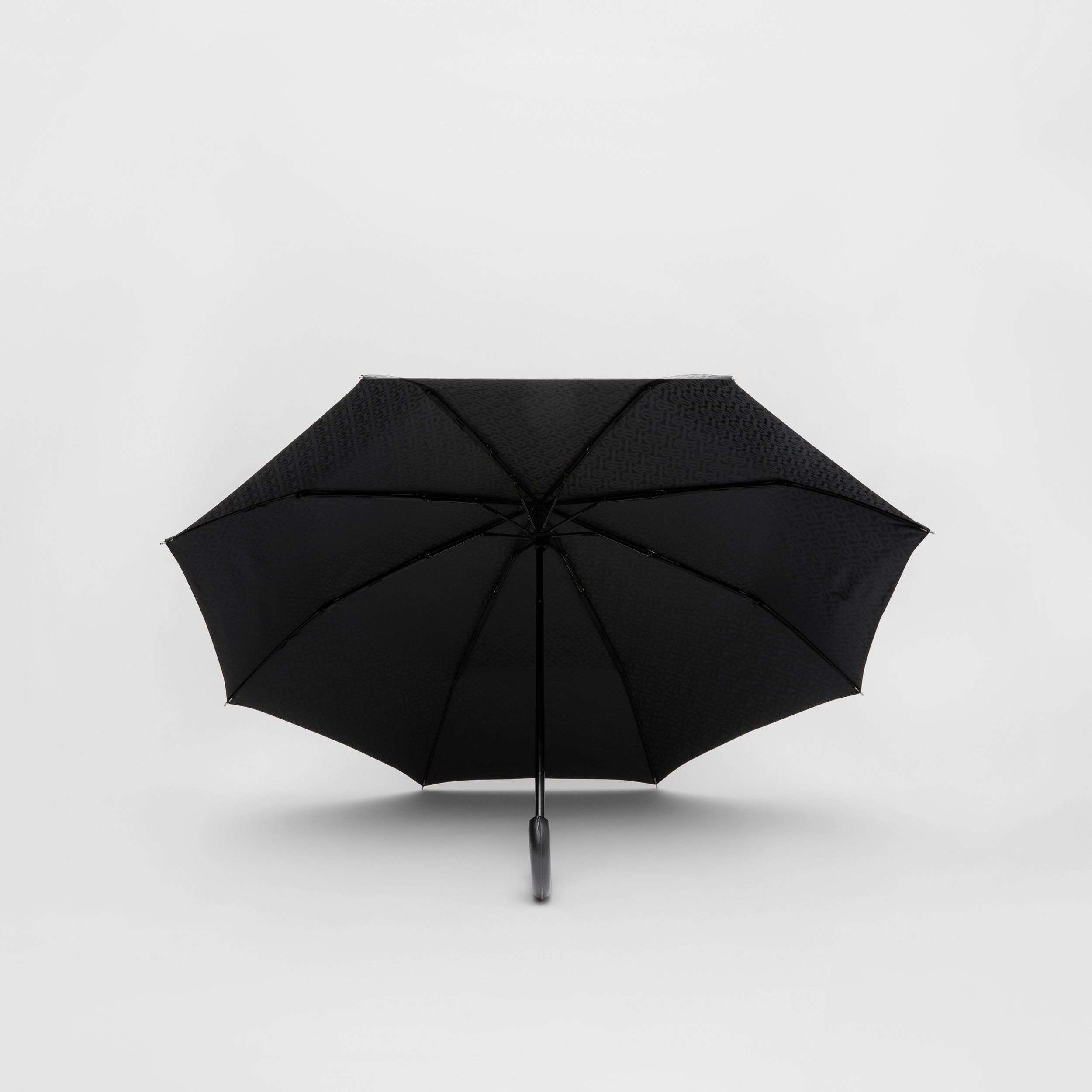 Monogram Print Folding Umbrella in Black | Burberry - 3