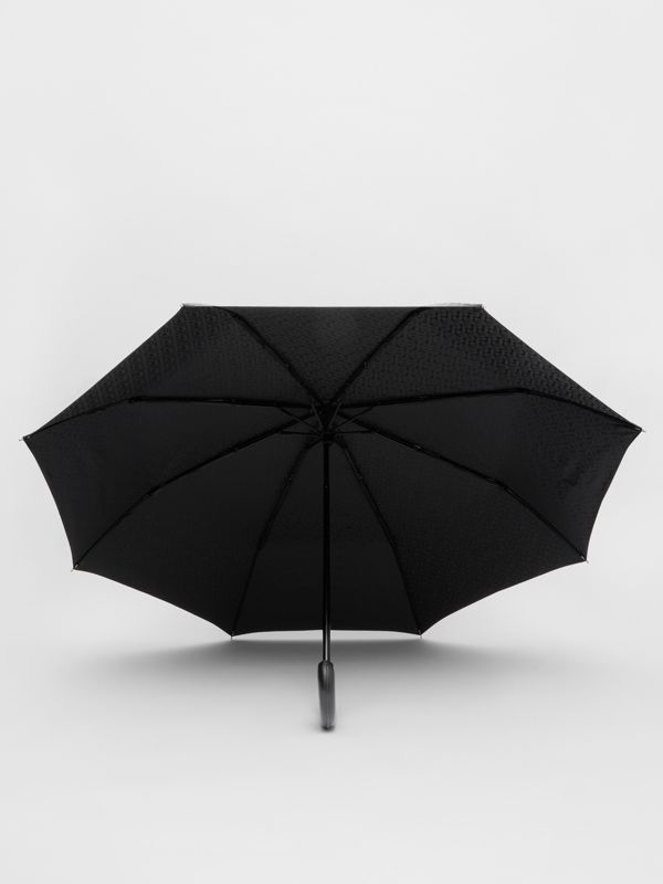 Monogram Print Folding Umbrella in Black | Burberry - cell image 2