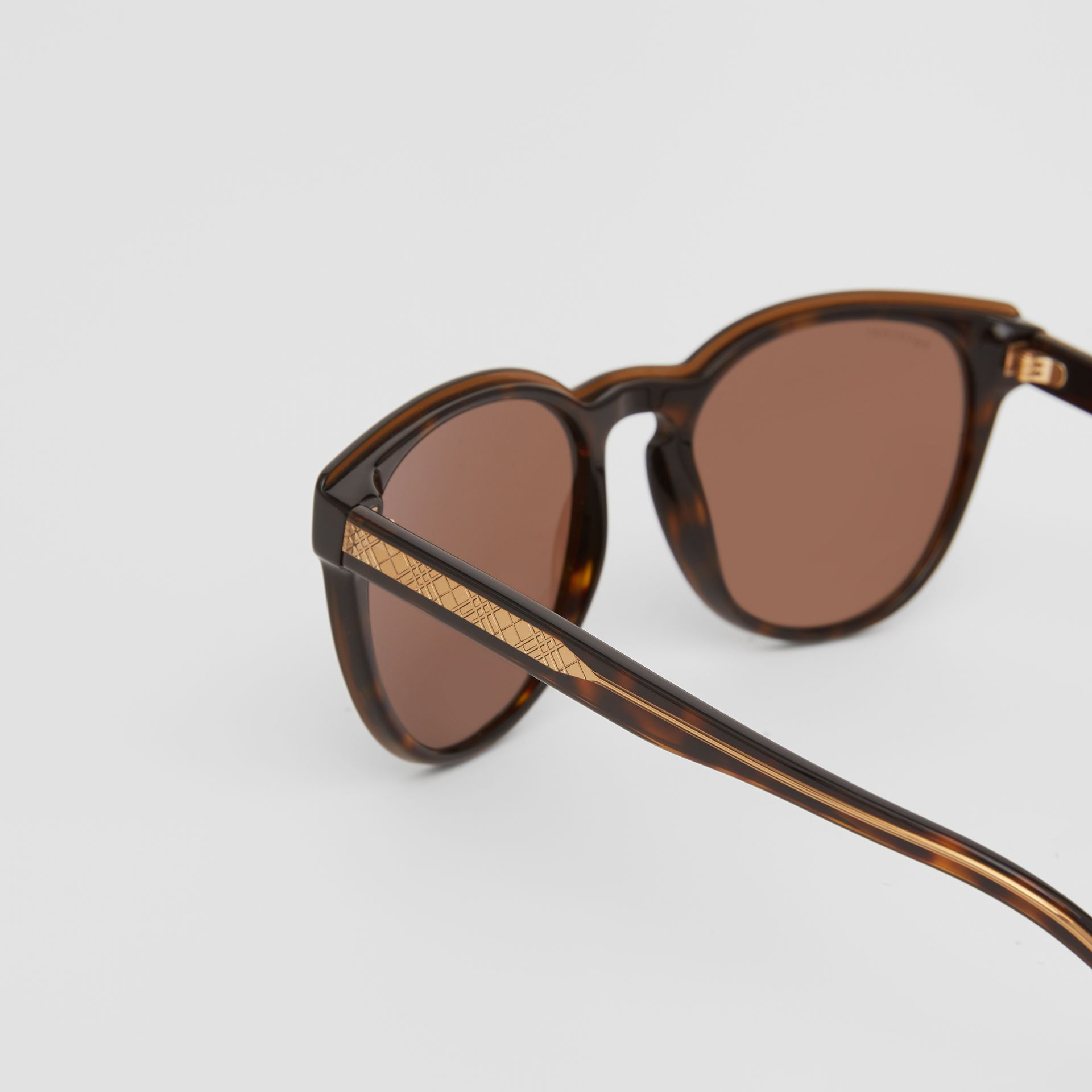 Round Frame Sunglasses in Tortoiseshell - Men | Burberry - gallery image 1