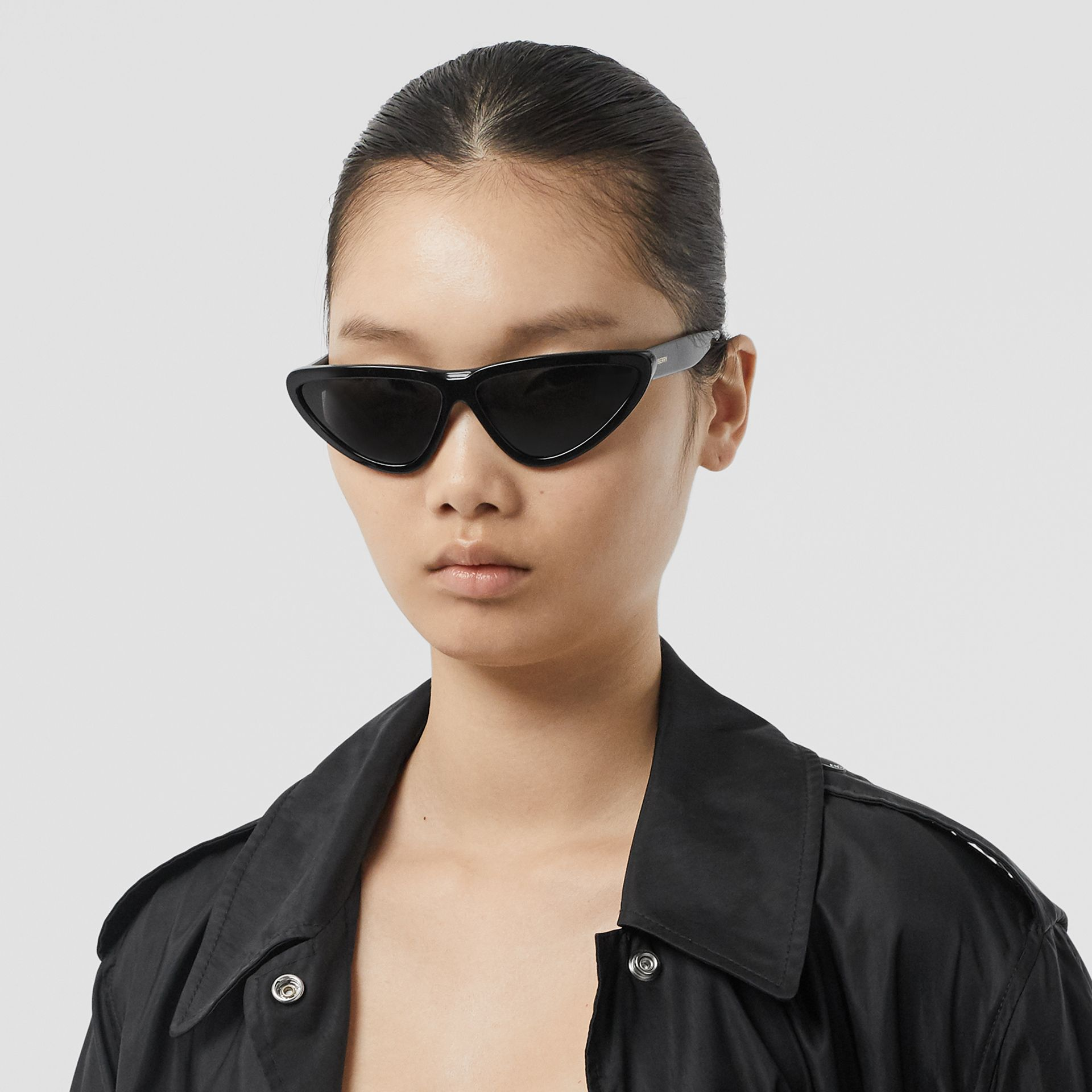 Triangular Frame Sunglasses in Black - Women | Burberry Australia - gallery image 2