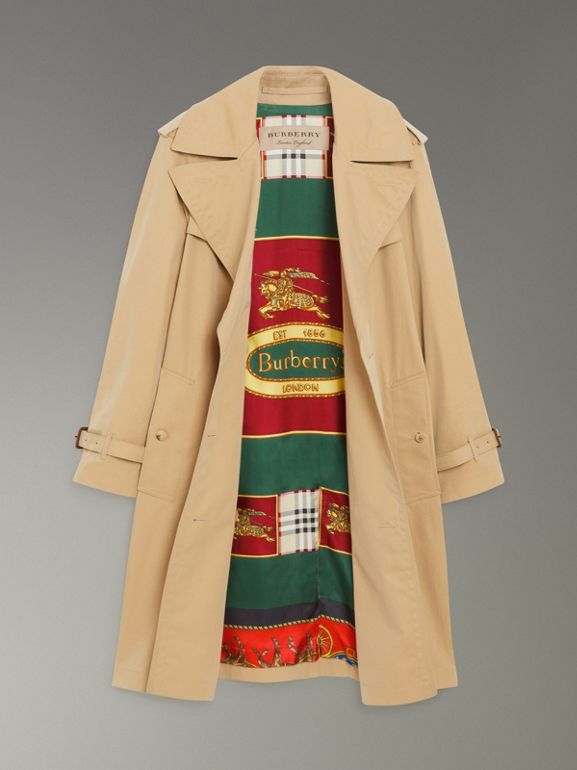 Scarf-print-lined Tropical Gabardine Trench Coat in Honey - Women | Burberry Hong Kong - cell image 1