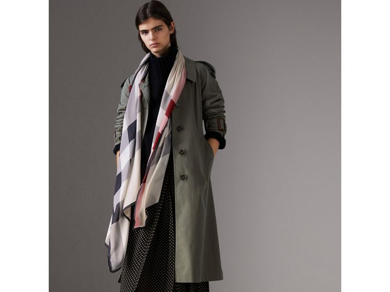 Lightweight Check Silk Scarf in Stone - Women | Burberry United Kingdom - cell image 2