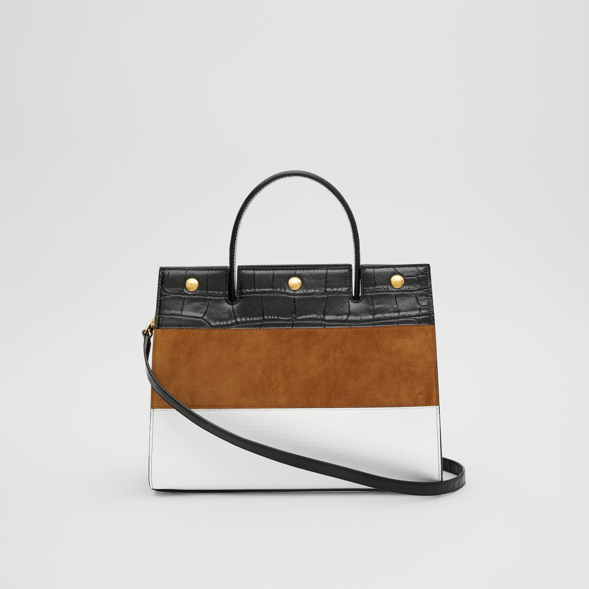 Small Panelled Leather, Suede and Deerskin Title Bag in White/maple - Women | Burberry - gallery image 7