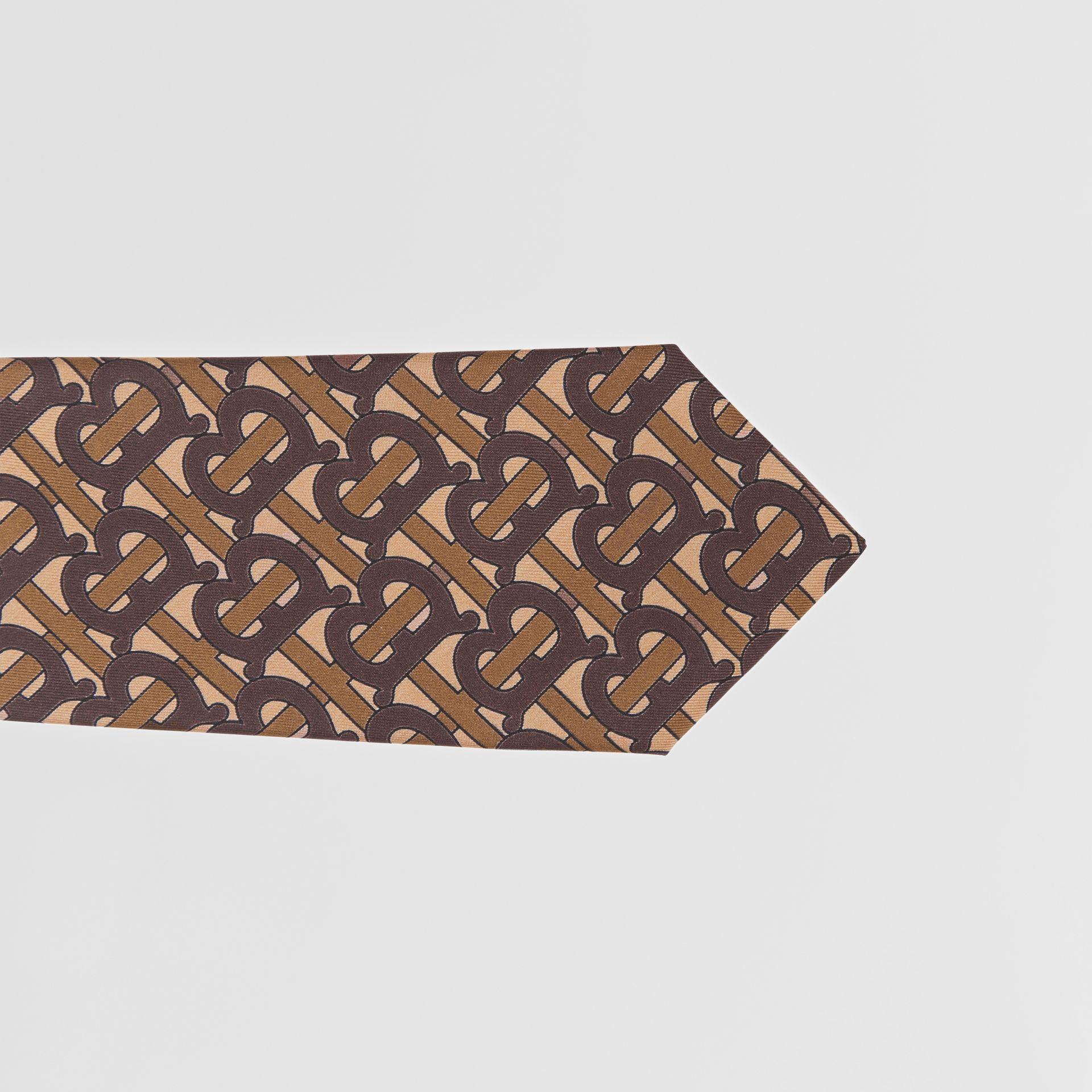 Classic Cut Monogram Print Silk Tie in Bridle Brown - Men | Burberry Singapore - gallery image 1