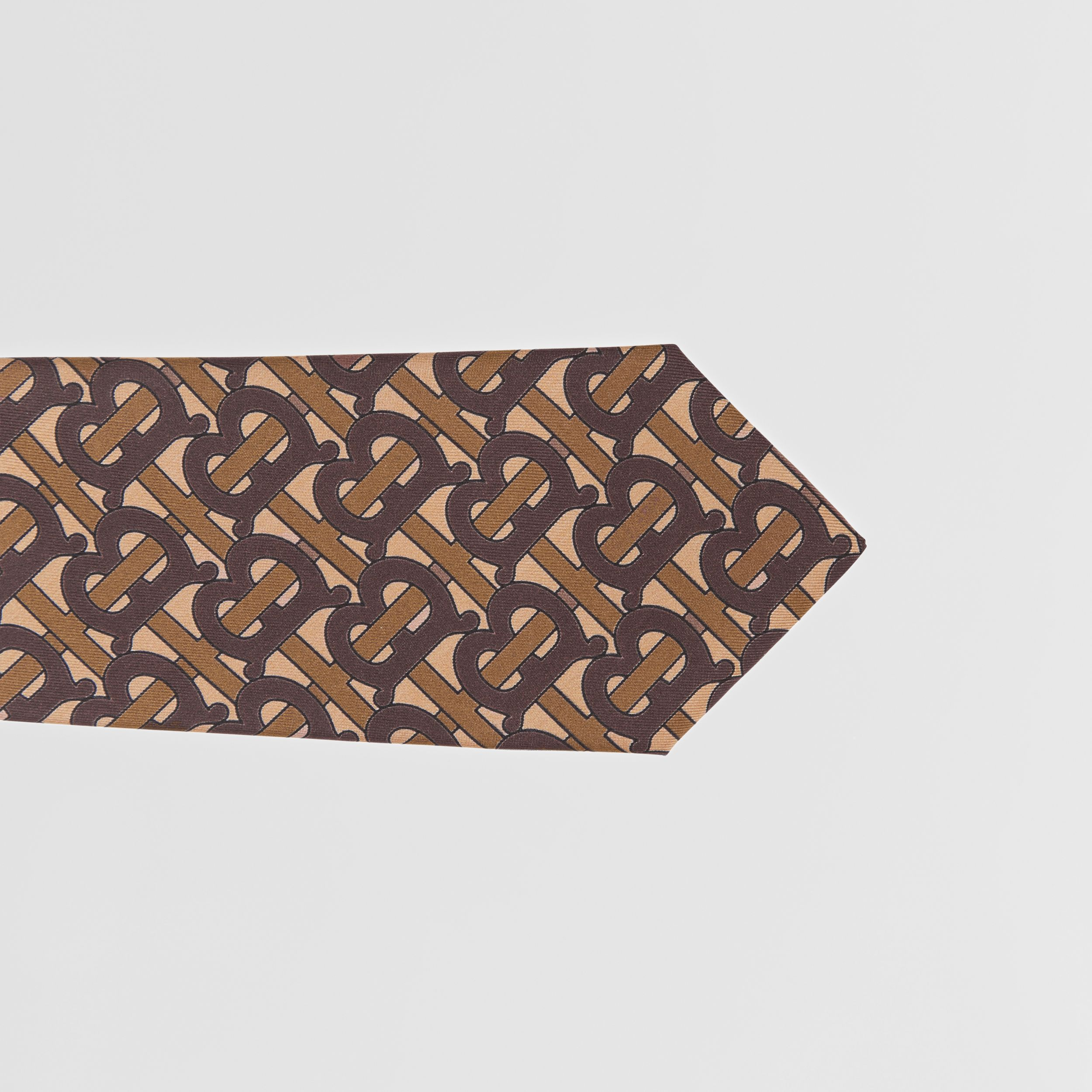 Classic Cut Monogram Print Silk Tie in Bridle Brown - Men | Burberry - 2