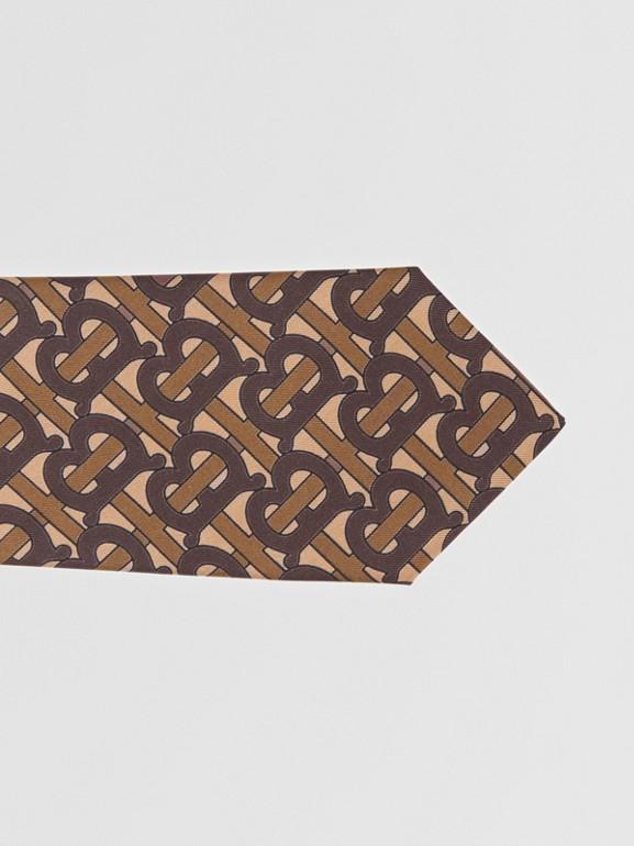 Classic Cut Monogram Print Silk Tie in Bridle Brown - Men | Burberry Singapore - cell image 1