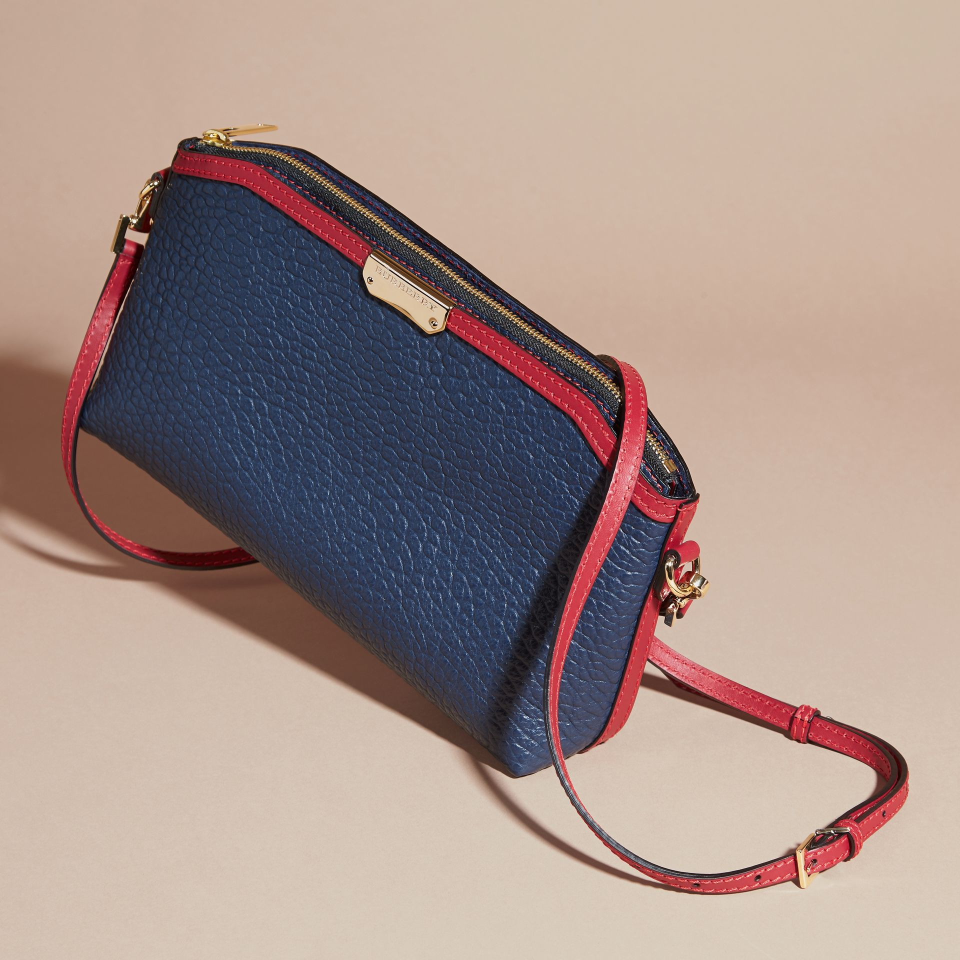 Blue carbon/parade red Small Contrast Border Grainy Leather Clutch Bag - gallery image 8
