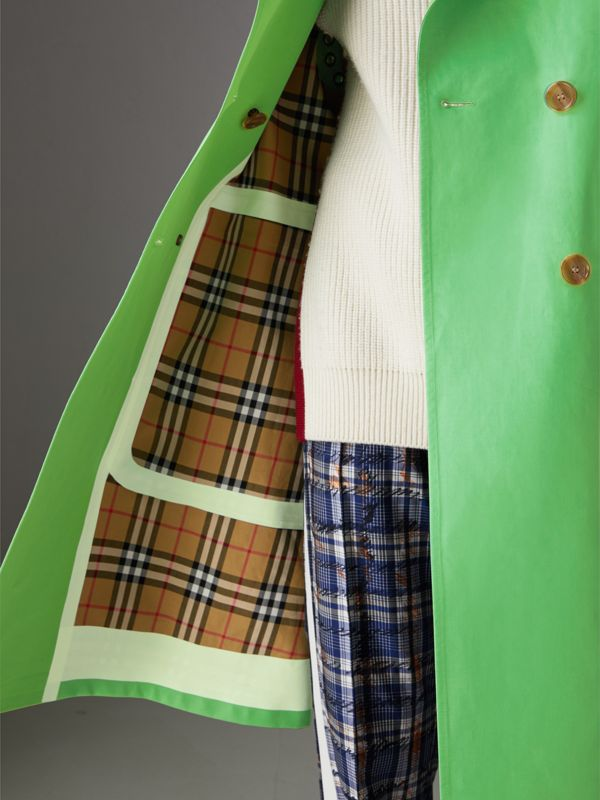 Bonded Cotton Double-breasted Coat in Bright Pigment Green - Women | Burberry - cell image 3